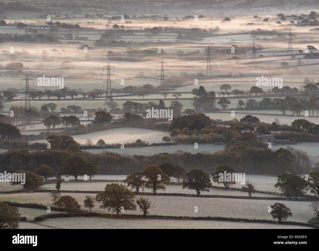 Marshwood, Dorset, UK. 2nd November 2018.  UK Weather:   A Layer of crisp white frost coats the fields in the Marshwood Vale as temperatures plummet in West Dorset. Credit: Celia McMahon/Alamy Live News - Stock Image