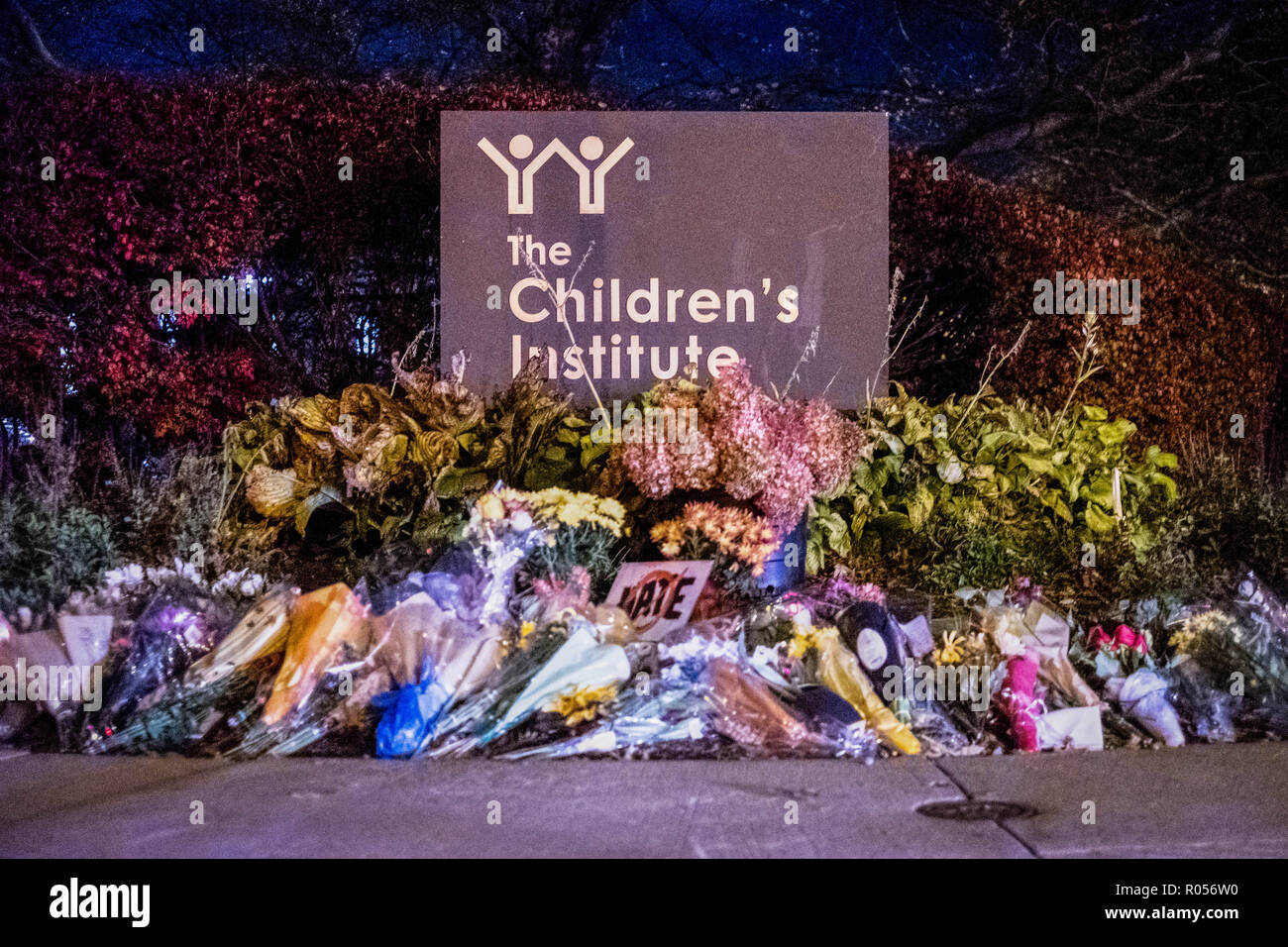 Flowers lay down near the JCC building  In the aftermath of