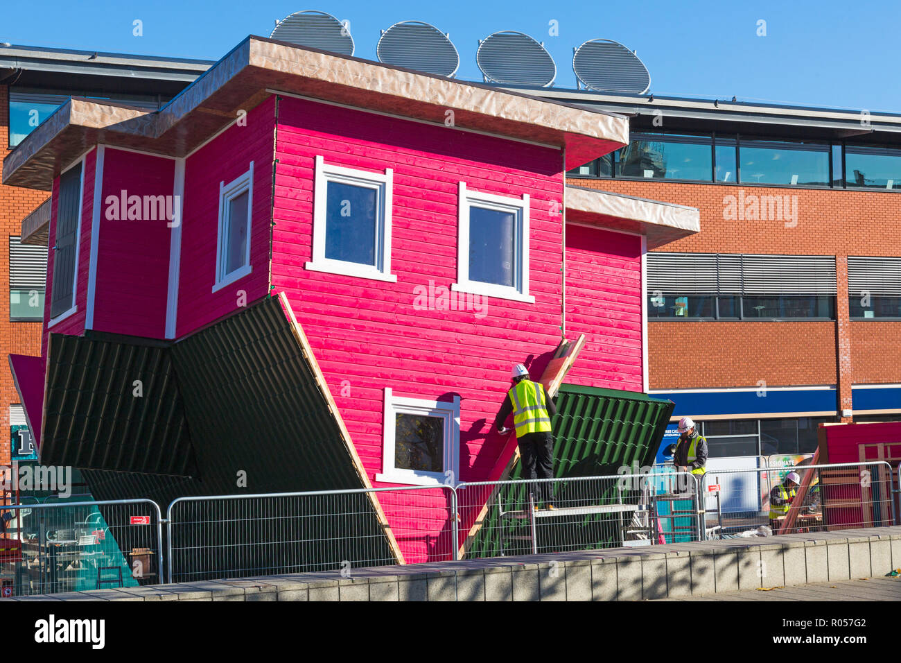 Bournemouth, Dorset, UK. 2nd Nov, 2018. The first upside down topsy turvy house is being assembled in Bournemouth as part of the towns Christmas Experience. Visitors will get the chance to venture inside and defy gravity! Credit: Carolyn Jenkins/Alamy Live News - Stock Image