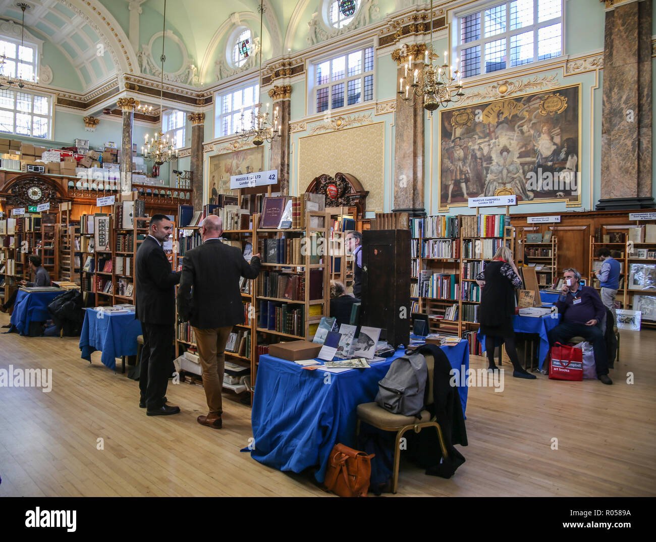 London UK 02 November 2018 The ABA (Antiquarian Book Association) Chelsea Rare Book Fair at the  Chelsea Old Town Hall for the 28th edition With more than 80 exhibitors specializing in all type of books, manuscripts, maps, prints, and ephemera, with some fantastic offers @Paul Quezada-Neiman/Alamy Live News Stock Photo