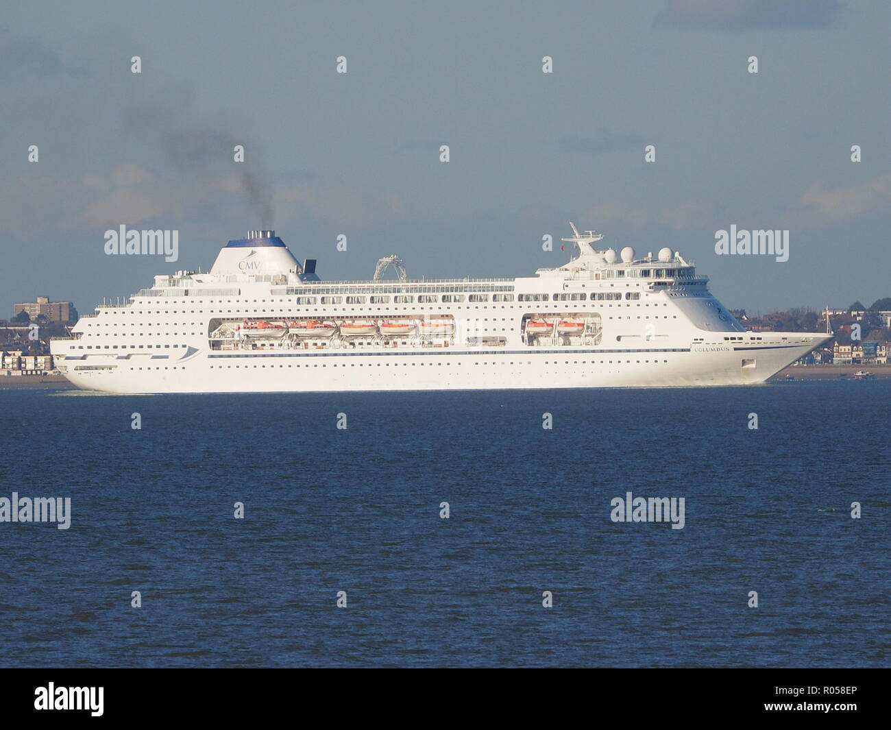 Sheerness, Kent, UK. 2nd Nov, 2018. Cruise ship 'Columbus' passing Sheerness on a sunny afternoon. Columbus is 246m long by 32m wide and was purpose-built in 1988 for deep sea ocean cruising.  Credit: James Bell/Alamy Live News - Stock Image