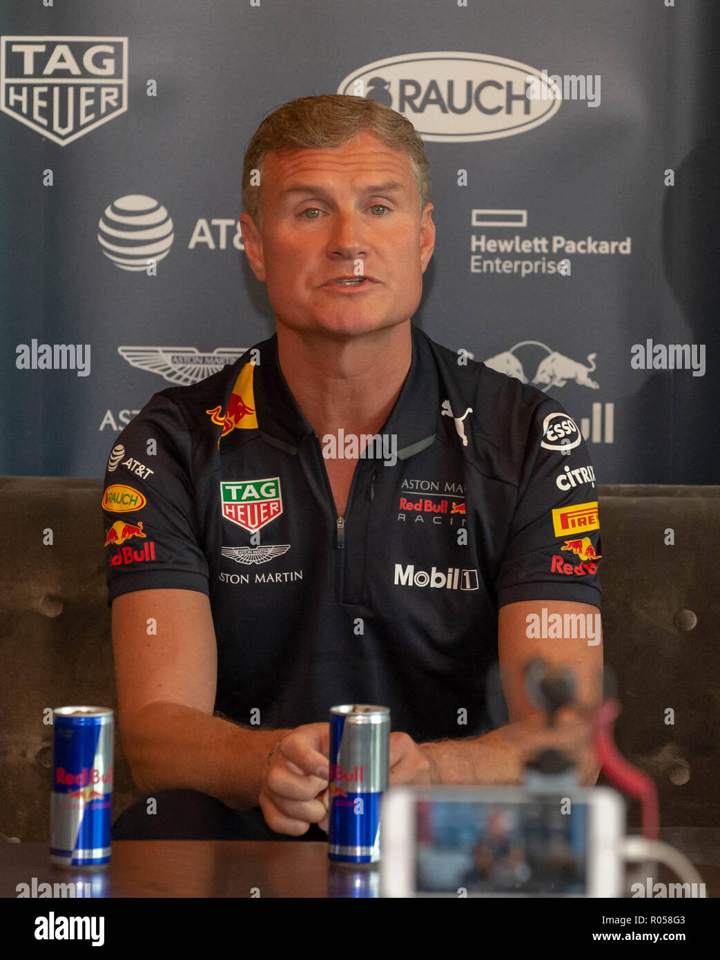 Belfast, Northern Ireland, U.K. 02 November 2018. Press Conference with Red Bull F1 Showrun Driver David Coulthard ahead of the Red Bull Racing Team's Showrun in Belfast City Centre on Saturday. Credit: John Rymer/Alamy Live News - Stock Image