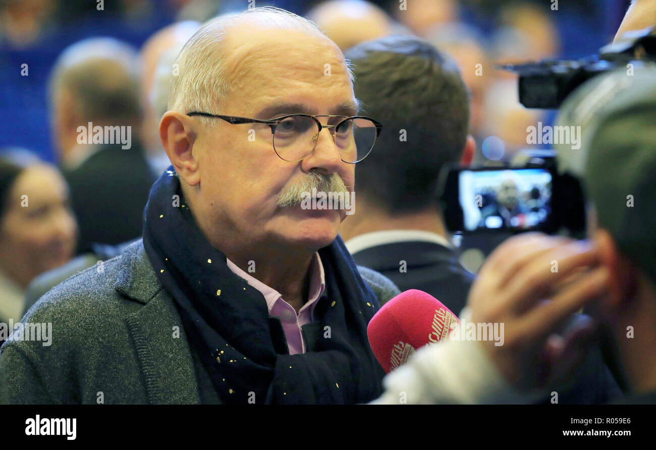 Film director, actor, screenwriter and producer Nikita Mikhalkov prior to the start of the plenary session of the World Russian People's Council at the Kremlin November 1, 2018 in Moscow, Russia. - Stock Image