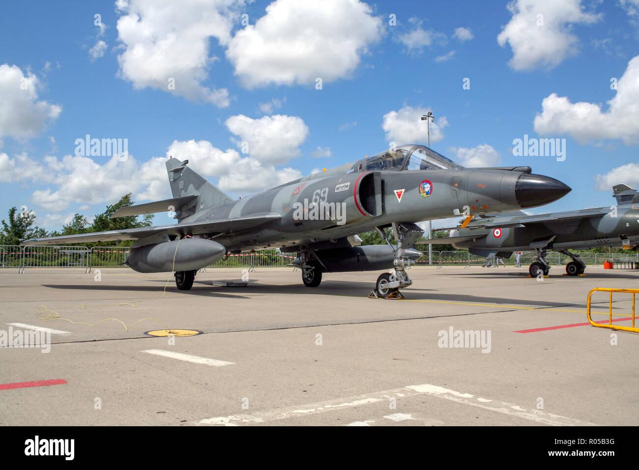 FLORENNES, BELGIUM - JUL 6, 2008: French Navy Dassault Super Etendard fighter jet on the tarmac of Florennes airbase Stock Photo