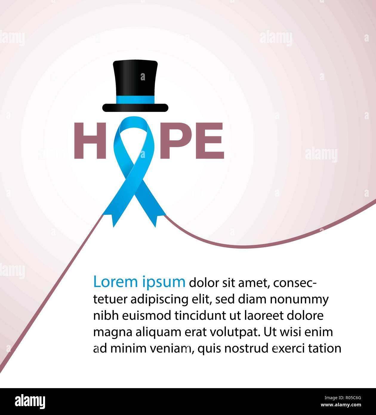Hope blue ribbon symbolic for prostate cancer awareness campaign and men's health - Stock Image