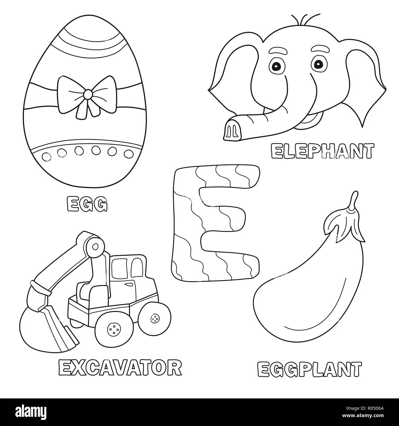 - Kids Alphabet Coloring Book Page With Outlined Clip Arts. Letter E