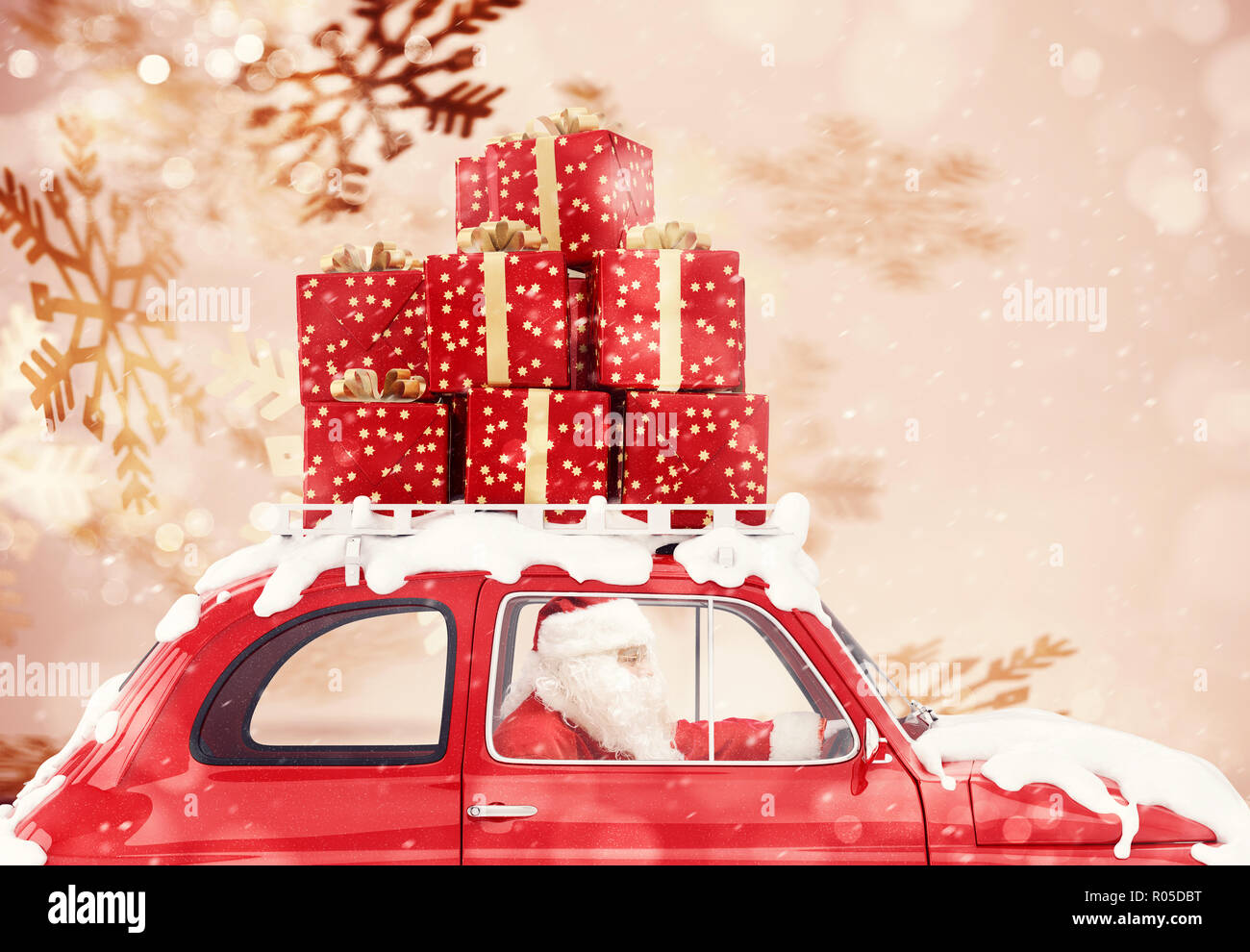 Santa Claus on a red car full of Christmas present with