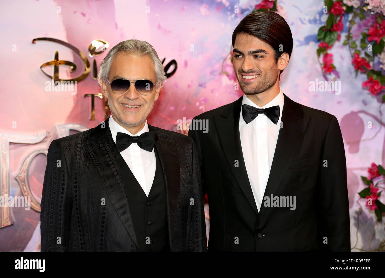Andrea Bocelli (left) and Matteo Bocelli attending the European Premiere of The Nutcracker and the Four Realms held at the Vue, Westfield London. - Stock Image
