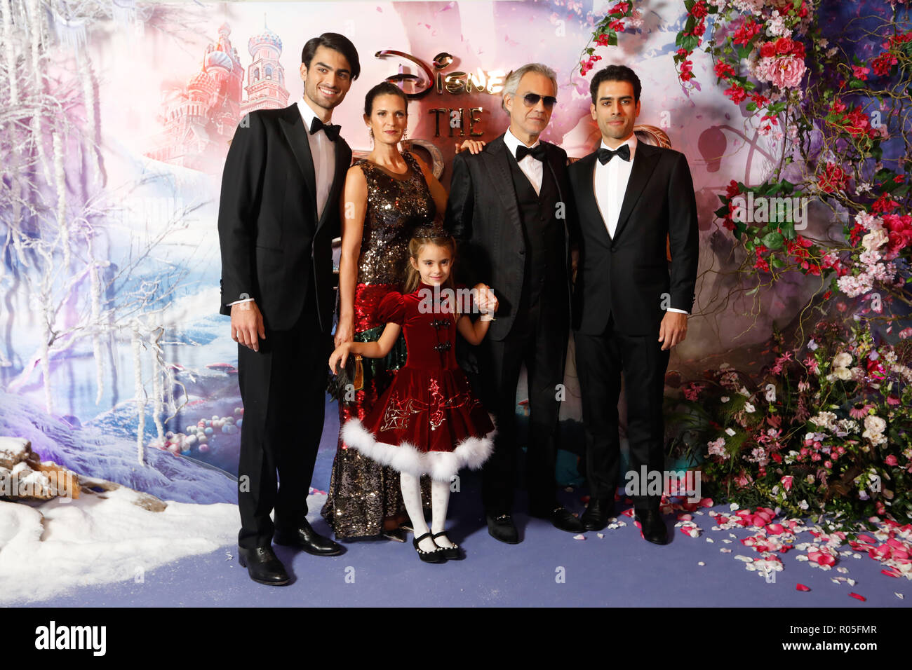 Andrea Bocelli, Matteo Bocelli and family attending the European Premiere of The Nutcracker and the Four Realms held at the Vue, Westfield London. PRESS ASSOCIATION Photo. Picture date: Thursday November 1, 2018. Photo credit should read: David Parry/PA Wire - Stock Image