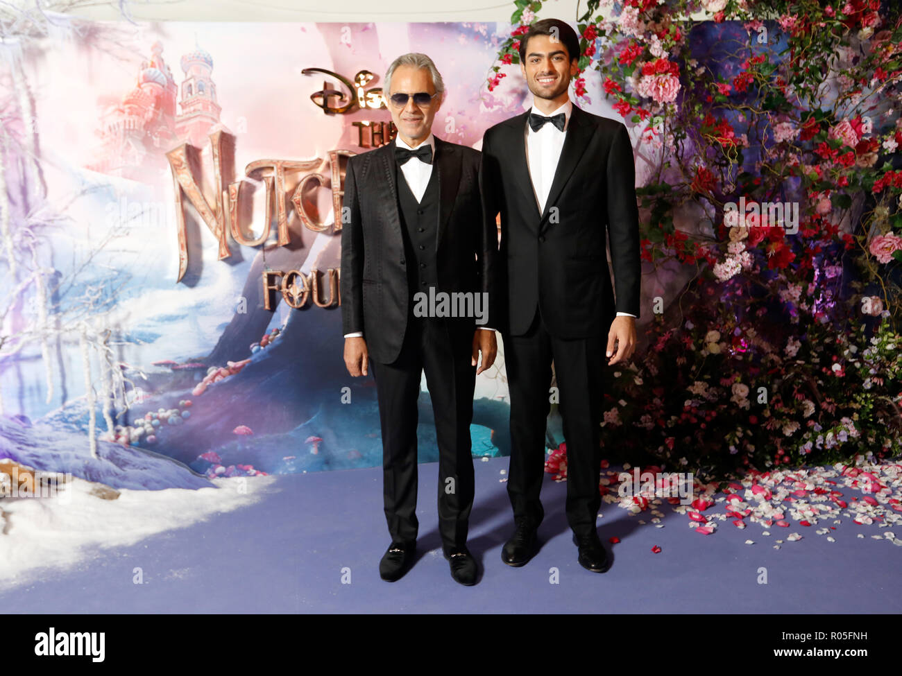 Andrea Bocelli (left) and Matteo Bocelli attending the European Premiere of The Nutcracker and the Four Realms held at the Vue, Westfield London. PRESS ASSOCIATION Photo. Picture date: Thursday November 1, 2018. Photo credit should read: David Parry/PA Wire - Stock Image