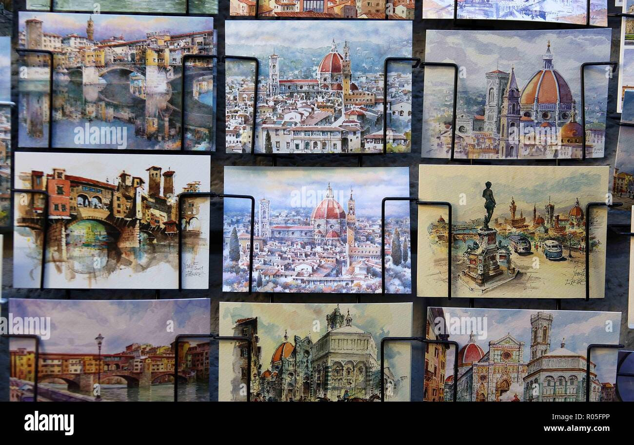 Postcards of Florence - Stock Image