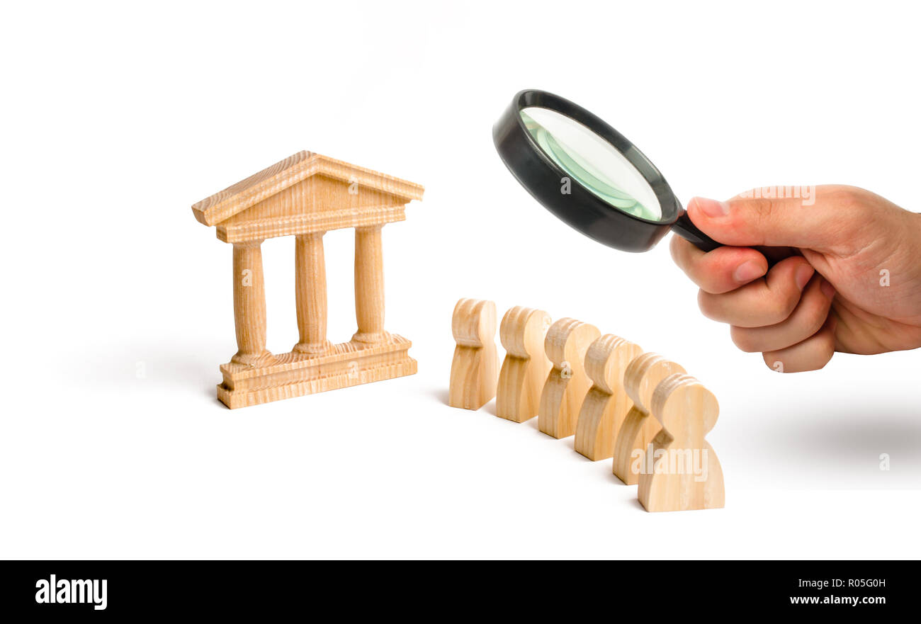 Magnifying glass is looking at the ancient building and a queue of people . Protection from the falsification of history. preserving monuments of hist - Stock Image