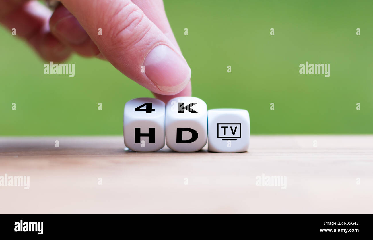 Symbol of the change from HD TV to 4K TV - Stock Image