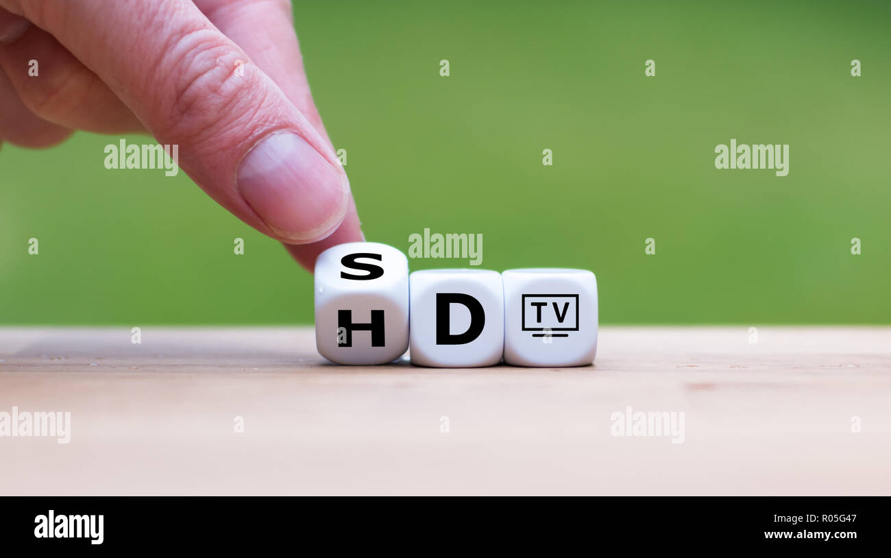 Symbol of the change from SD TV to HD TV - Stock Image