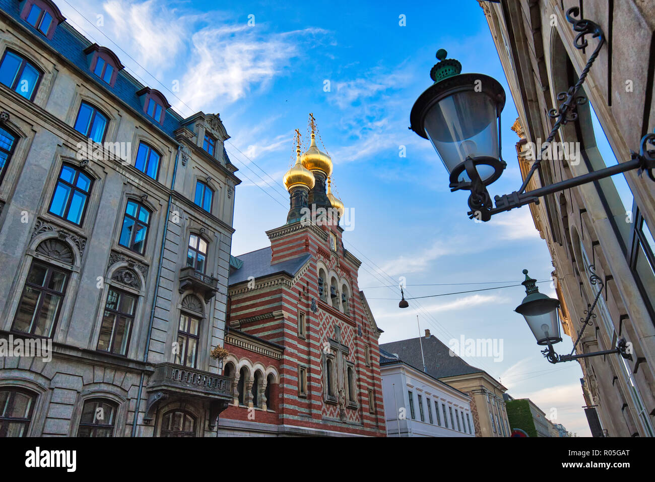 Russian Orthodox Alexander Nevskij (Nevsky) church located in historic center - Stock Image