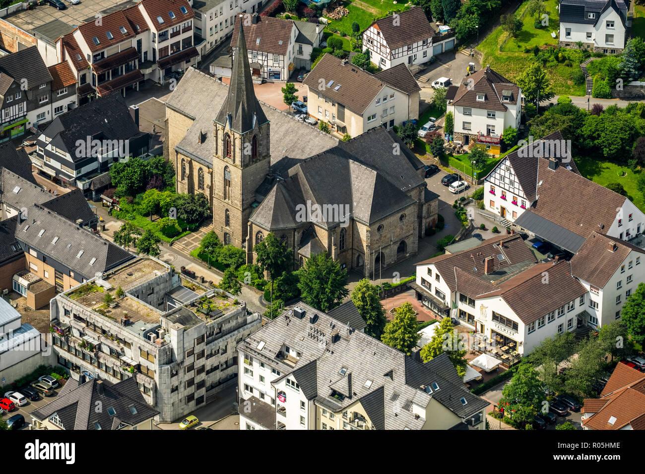 Aerial view, St. Johannes Church Sundern, city center, main street, Jostes Gäßchen, financial district, Sundern, Sauerland, North Rhine-Westphalia, Ge - Stock Image
