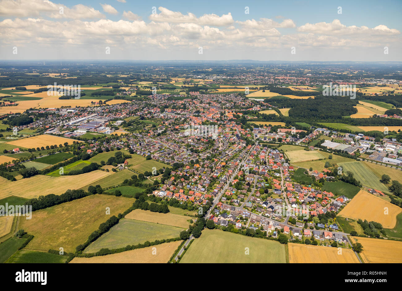 Aerial view, overview Freckenhorst, commercial park Freckenhorst, Martin Sieg fire and burglar alarm technology, Warendorf, Münsterland, North Rhine-W - Stock Image