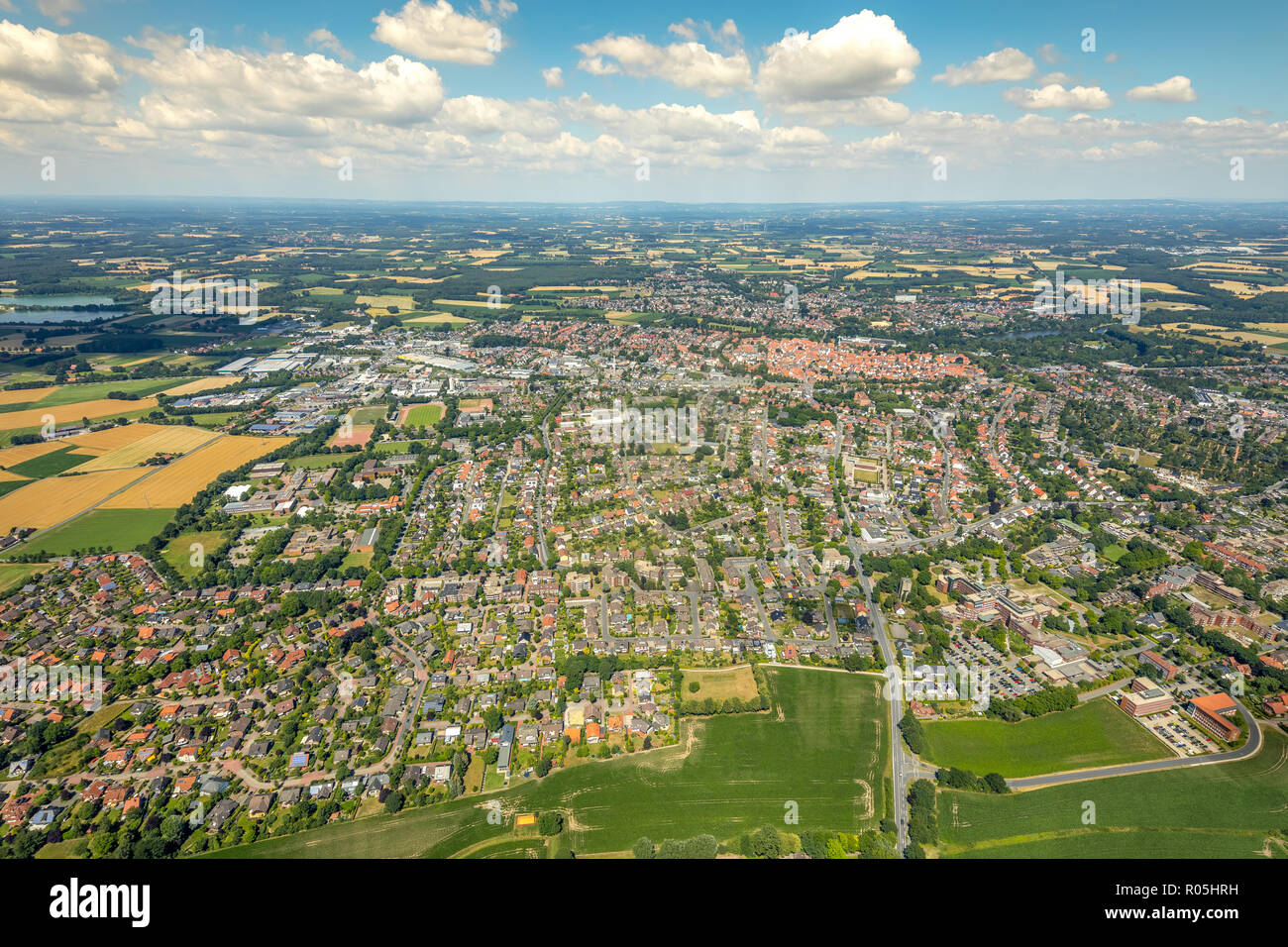 Aerial view, overview Warendorf, Münsterland, North Rhine-Westphalia, Germany, Europe, Warendorf, DEU, birds-eyes view, aerial view, aerial photograph - Stock Image