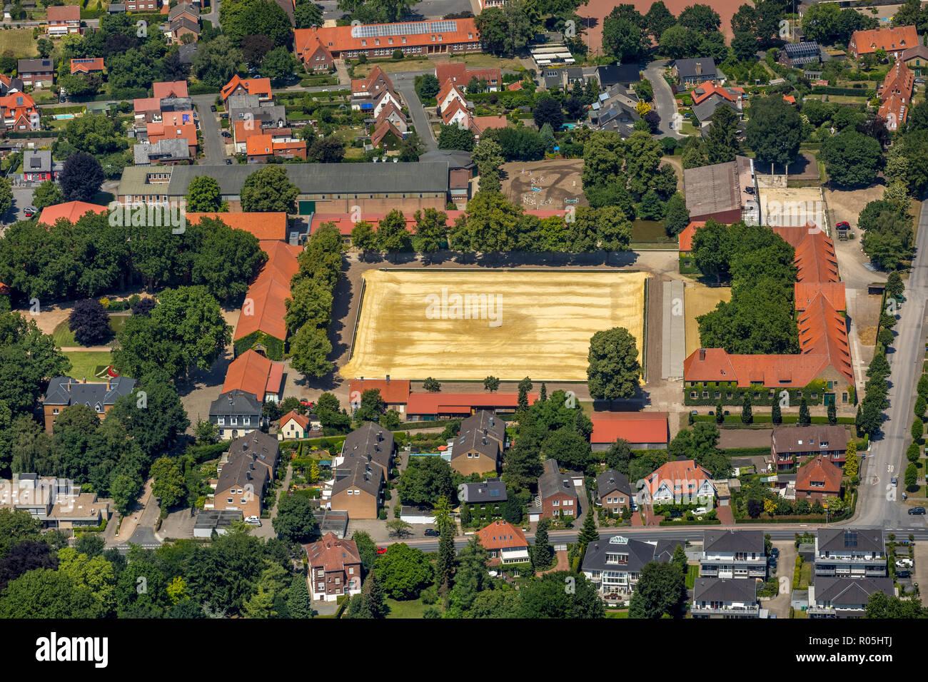 Aerial view, North Rhine-Westphalia state stud, Sassenberger road, Sternberg road, Warendorf, Münsterland, North Rhine-Westphalia, Germany, Europe, DE - Stock Image