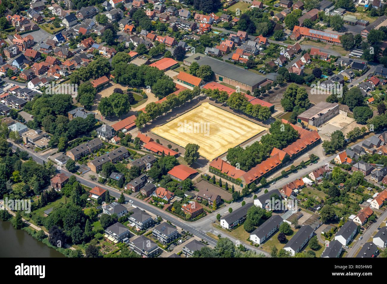 Luftbild, Nordrhein-Westfälisches Landgestüt, Sassenberger Straße, Sternbergstraße, Warendorf, Münsterland, Nordrhein-Westfalen, Deutschland, Europa,  - Stock Image