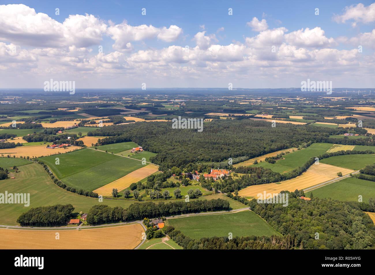 Aerial view, Overview Vinnenberg Abbey - Place of Spiritual Experiences, Landgasthof - Zum kühlen Grunde, Bever, State Forest Vinnenberger Busch, Ware - Stock Image