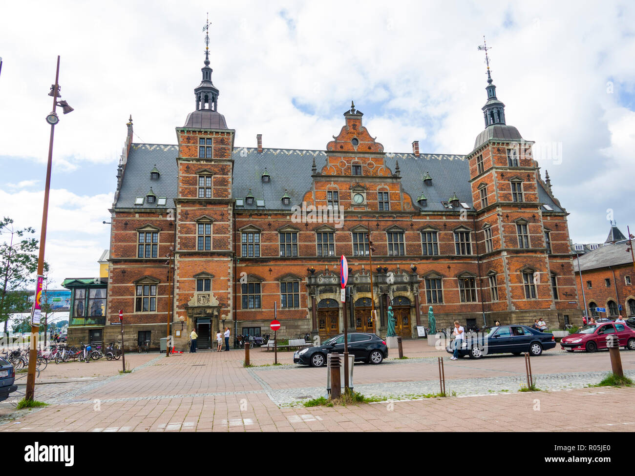 The Train Station in downtown Helsingor also known as Elsinore is a port city in eastern Denmark - Stock Image