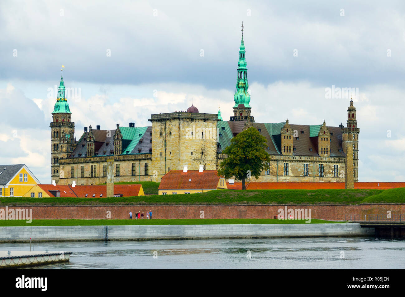 Kronborg Castle and fortification at Helsingor also known as Elsinore in eastern Denmark - Stock Image