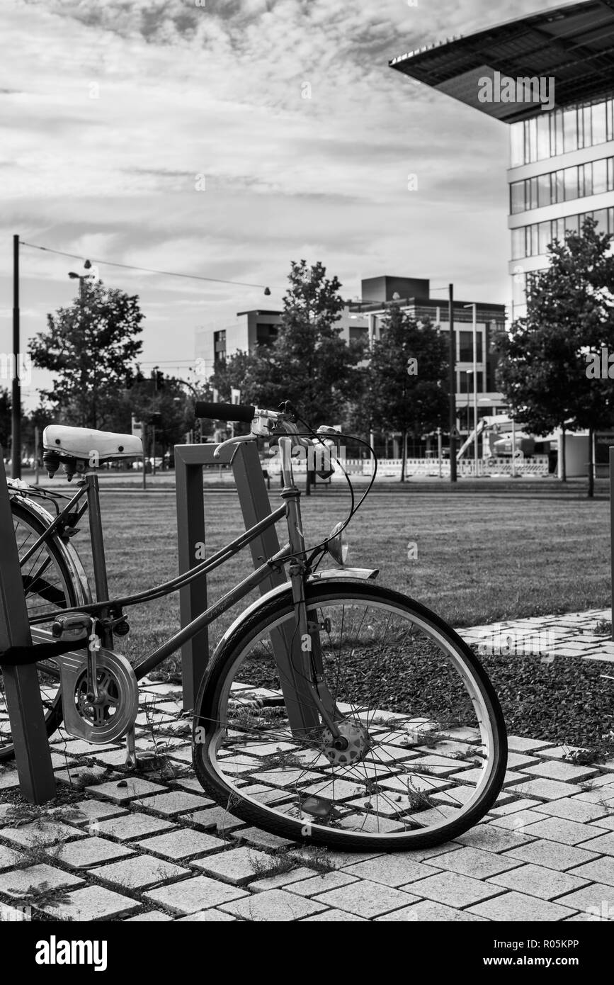 Old bycicle, left behind Stock Photo