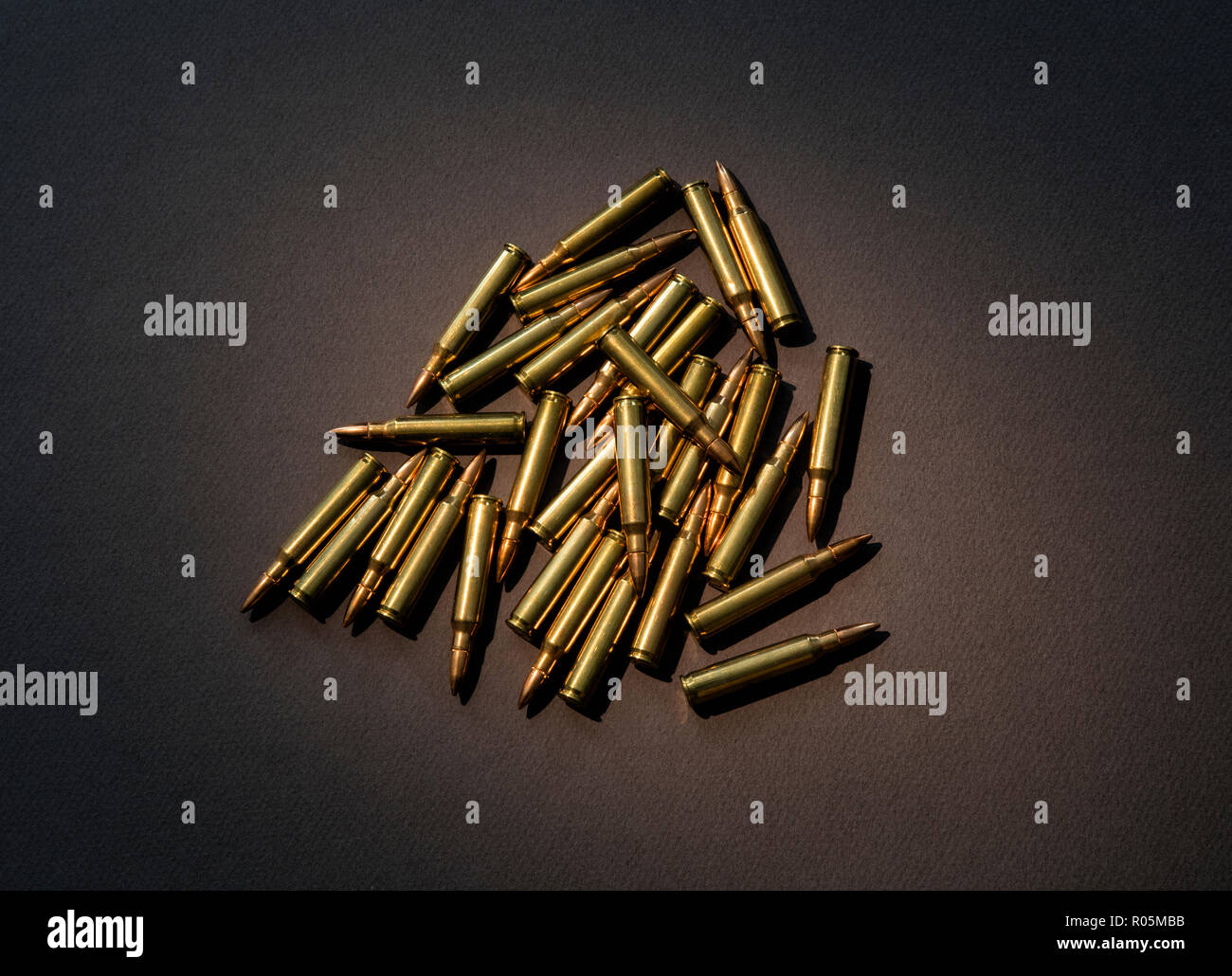 Live ammunition for the AR-15 rifle - Stock Image