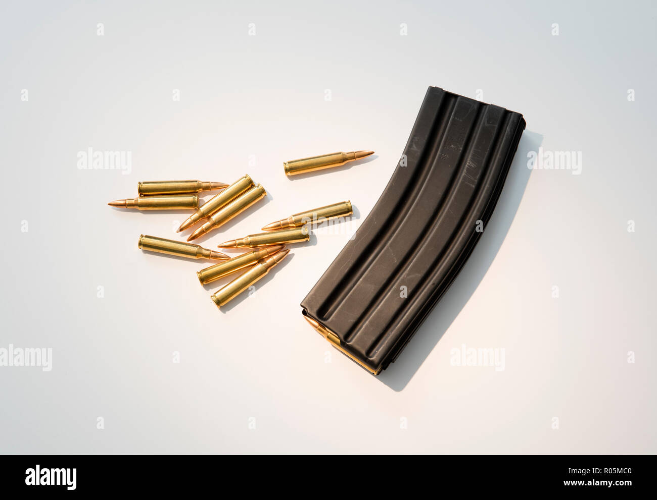 High capacity assault rifle ammunition magazine with live ammunition. - Stock Image