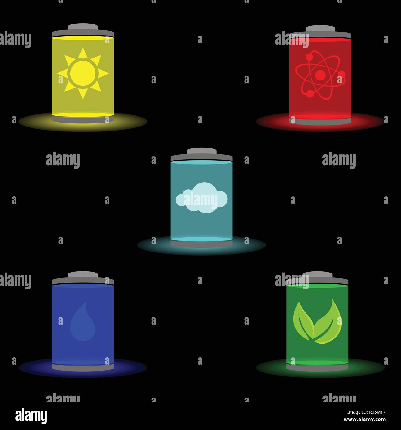 Five types of sources of energy: solar, nuclear, wind, water, green - Stock Vector
