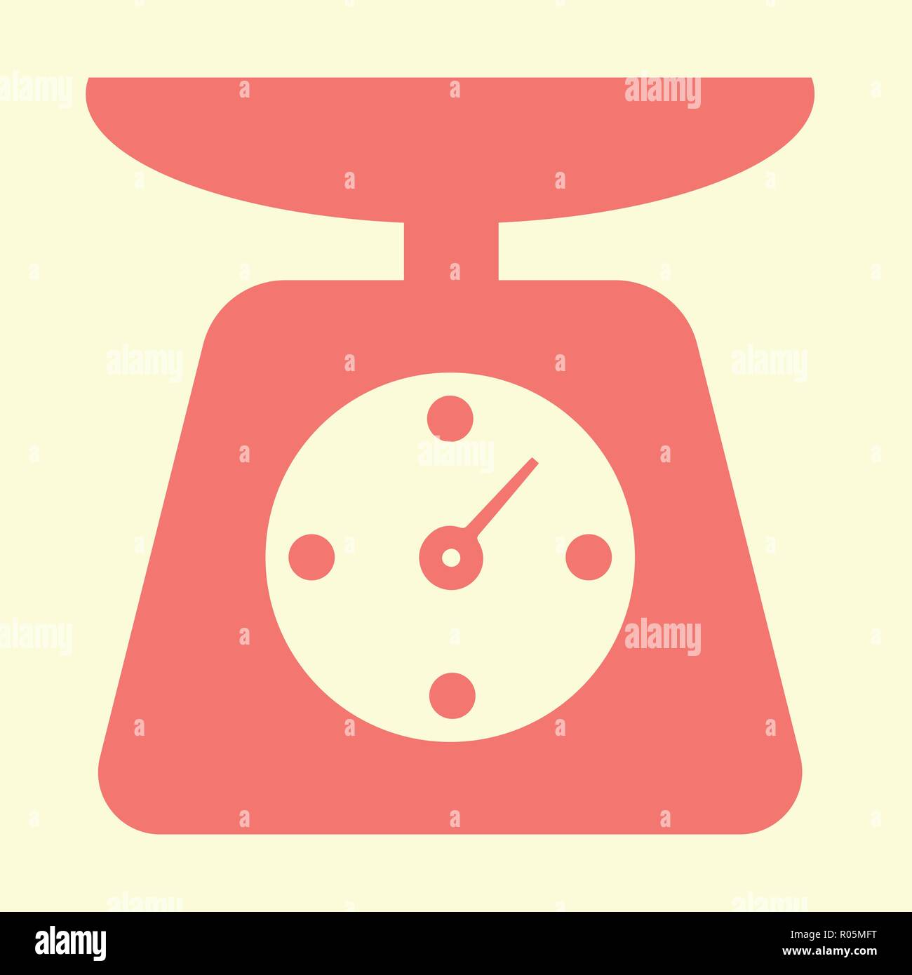 Red mechanical kitchen scales, new conceptual vector - Stock Image