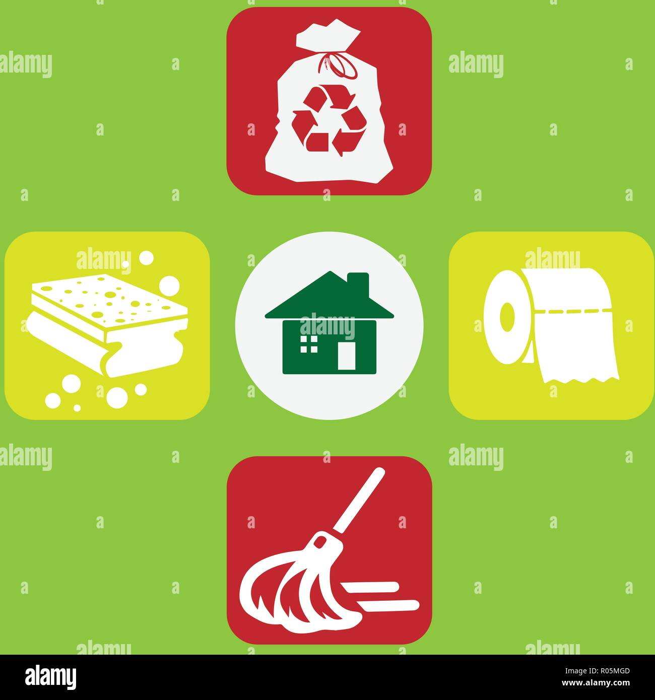 Household cleaning objects: sponge, broom, toilet paper, bag - Stock Vector