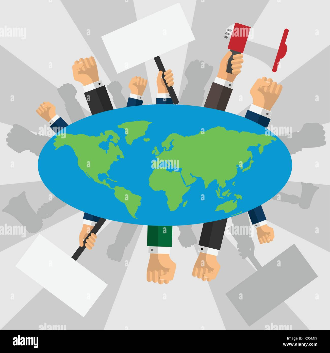 Human hands raised with banners around the earth globe - Stock Vector