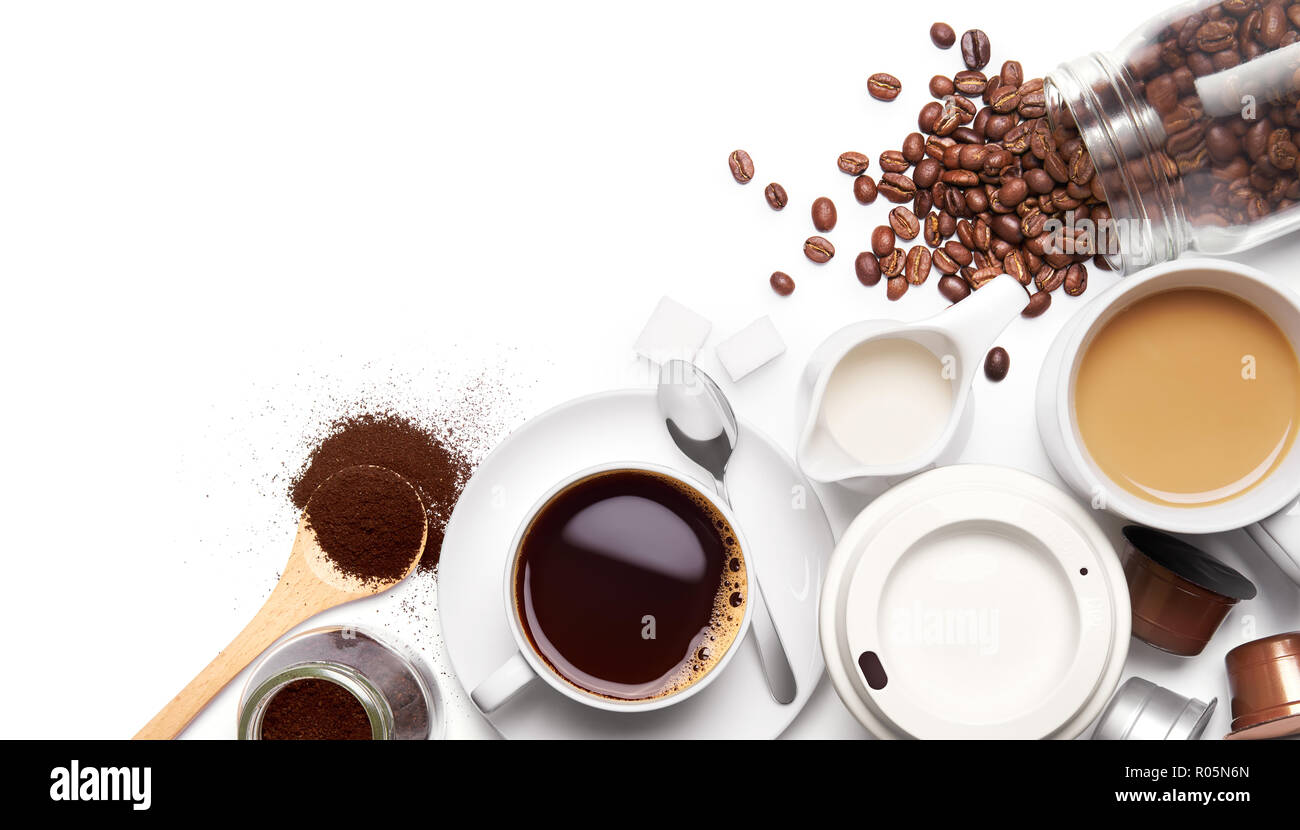 Variety types of coffee and ingredients over white background Stock Photo