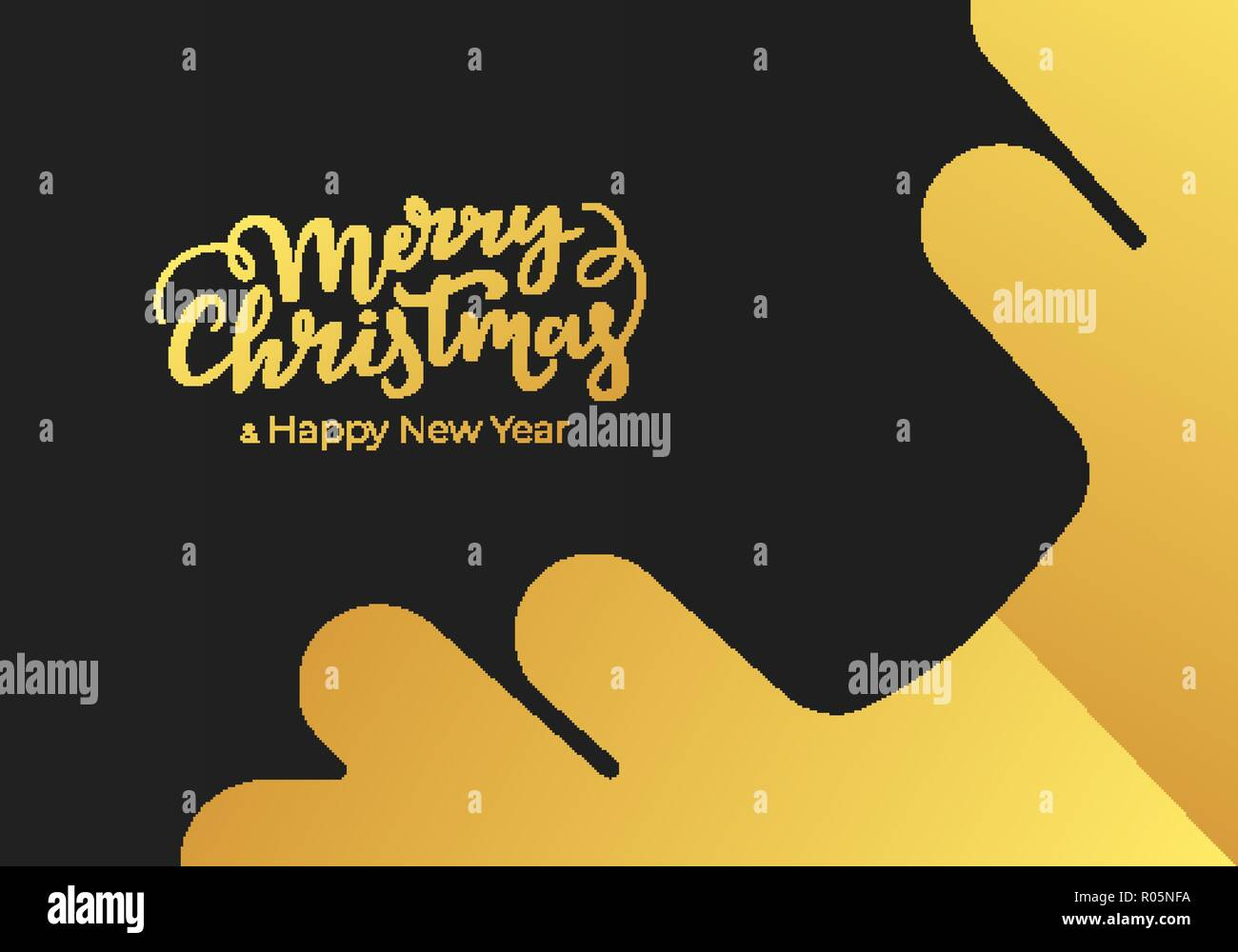 Christmas and New Year greeting card made of black paper background and decorated with gold lettering and snowflake. Postcard design for winter holida - Stock Image