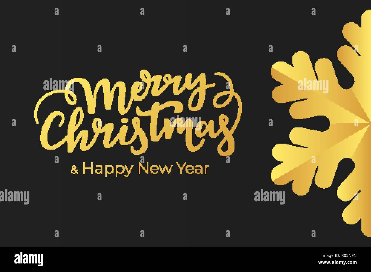 minimalist christmas and new year card design with hand lettering wishes and luxury decoration of a gold foil on black premium paper