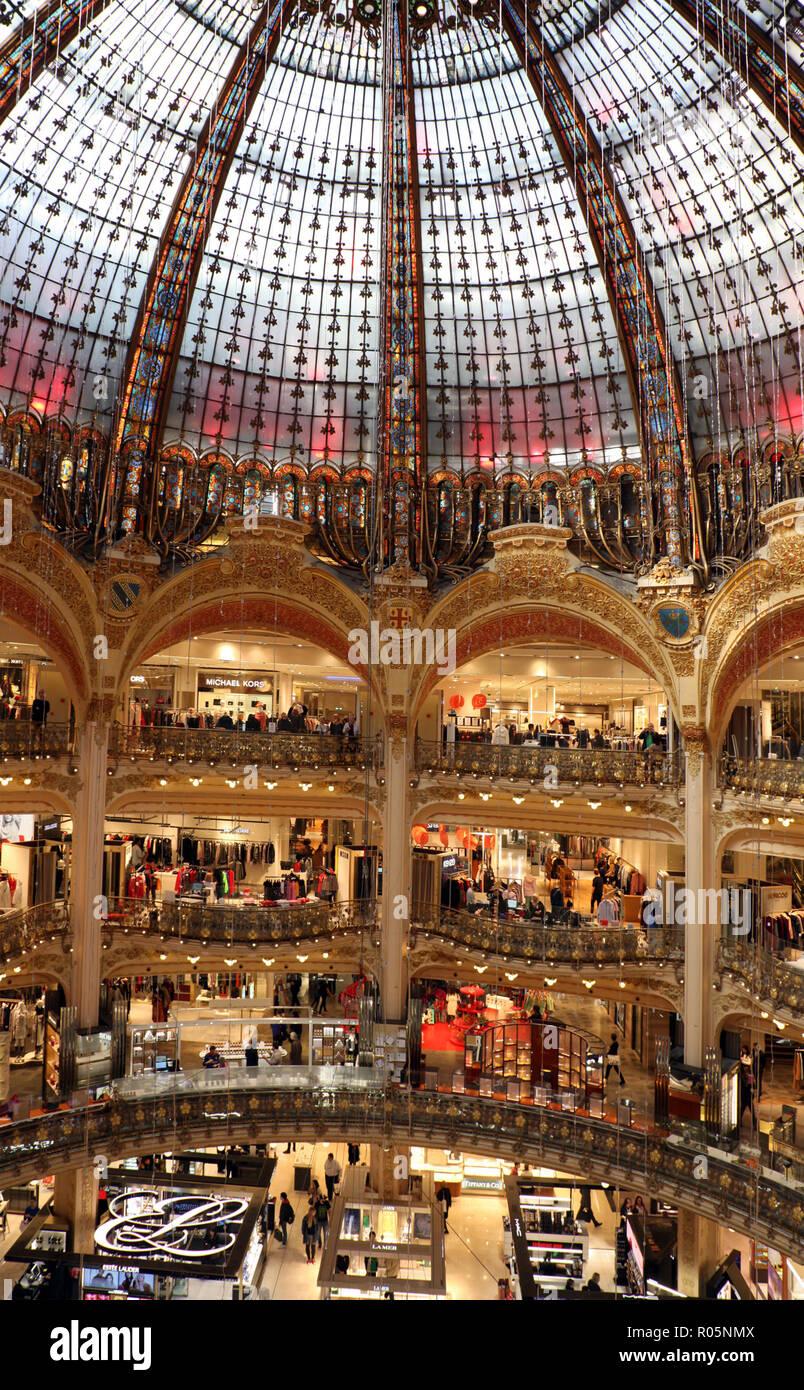 Interior of Galeries Lafayette's department store for women in Paris - Stock Image