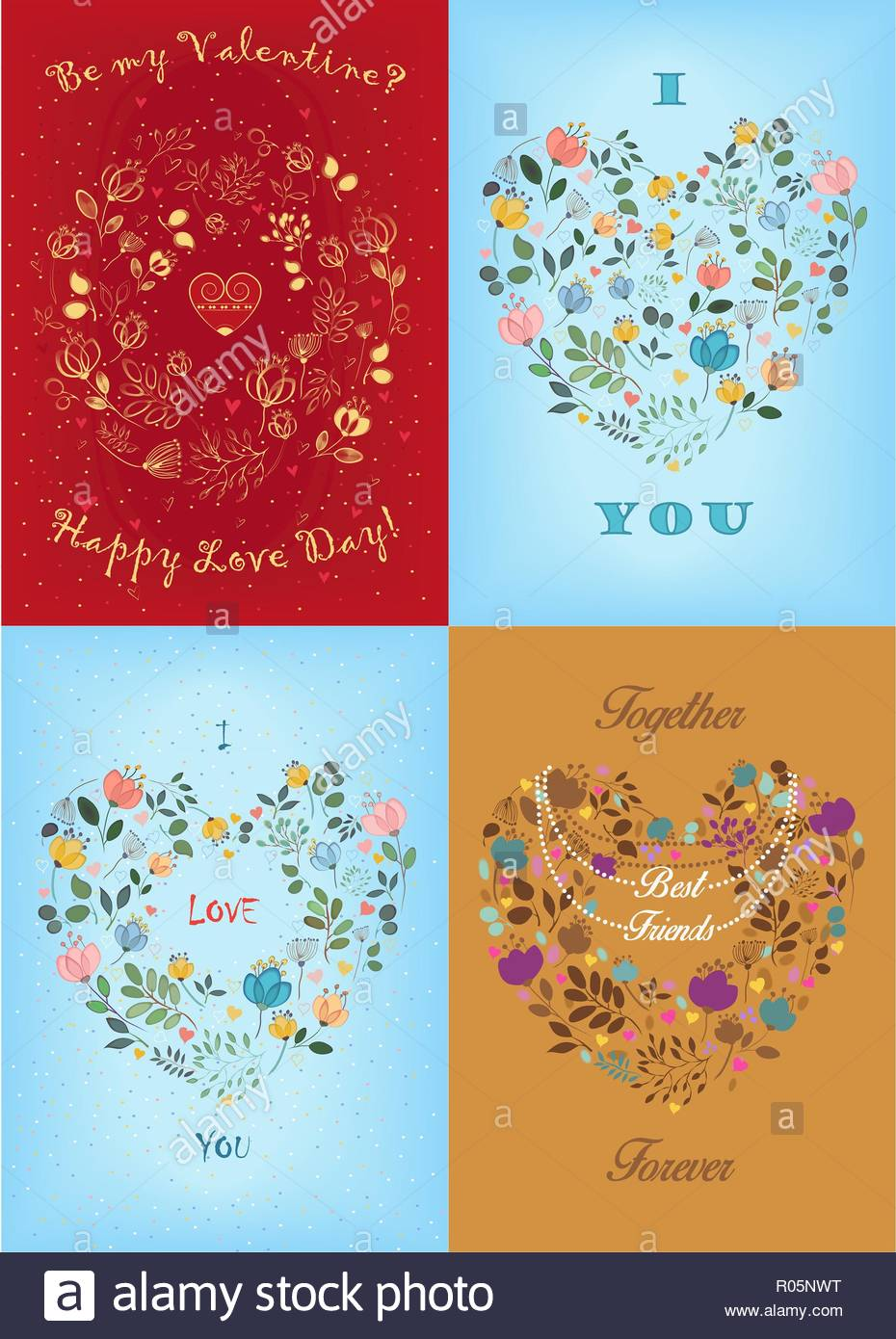 Set Of Valentine S Day Cards Floral Ring And Hearts With Festive