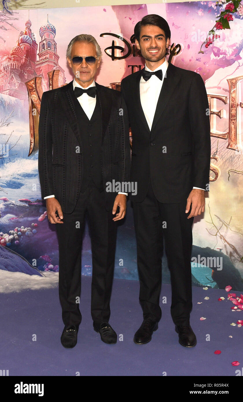 Photo Must Be Credited ©Alpha Press 079965 01/11/2018 Andrea Bocelli and son Matteo Bocelli  The Nutcracker And The Four Realms European Gala Screening At Westfield London - Stock Image