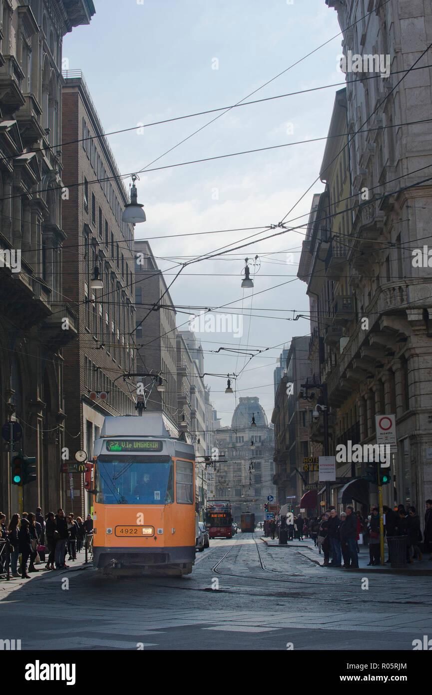 Italy, Milan, tram, via Torino, outdoor, day, - Stock Image