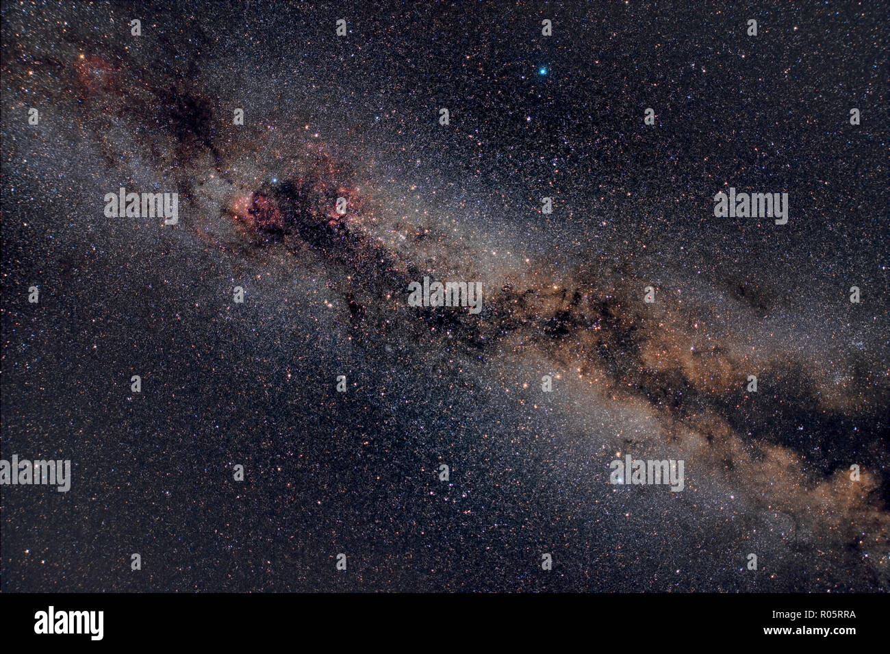 The Glorious Northern Milky Way Through the Area of the Summer Triangle - Stock Image