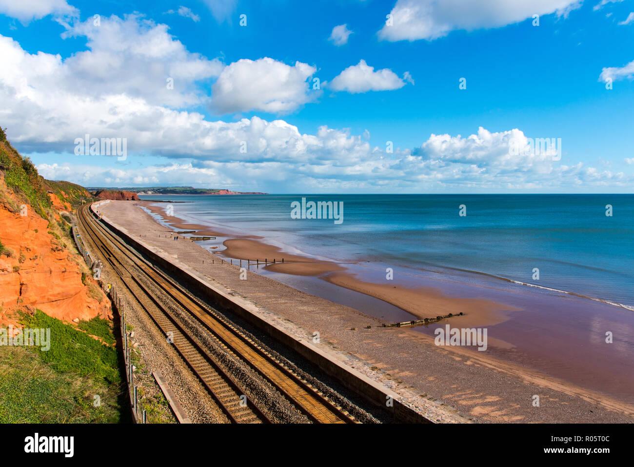 The Devon Main Railway Line near Dawlish. Loking North towards Langstone Rock. - Stock Image