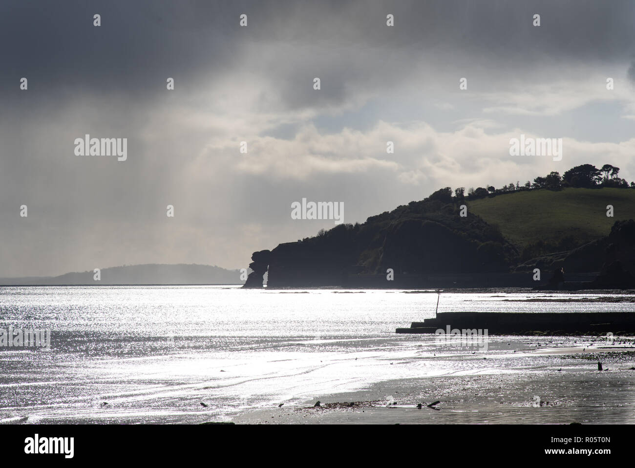The Parson and Clerk Headland near Holcombe, Teignmouth, Devon, UK. Although this appears to be an arch, it is a sea stack that has collapsed into the - Stock Image