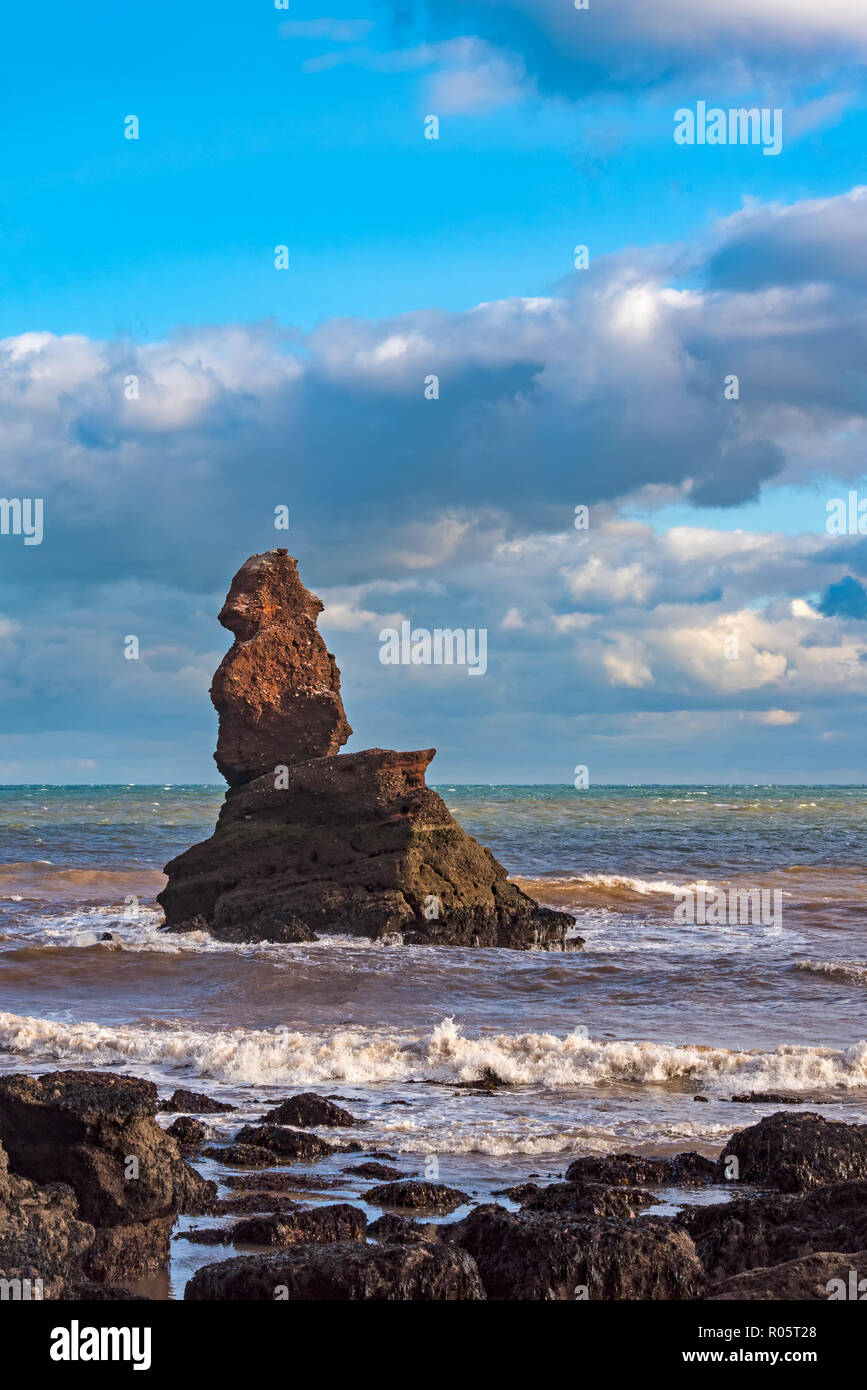 Shag Rockis a sea stack off Hole Head, Holcombe, Teignmouth Devon. It is often erroneously take to be the Parson of the Parson and Clerk Formation whi Stock Photo
