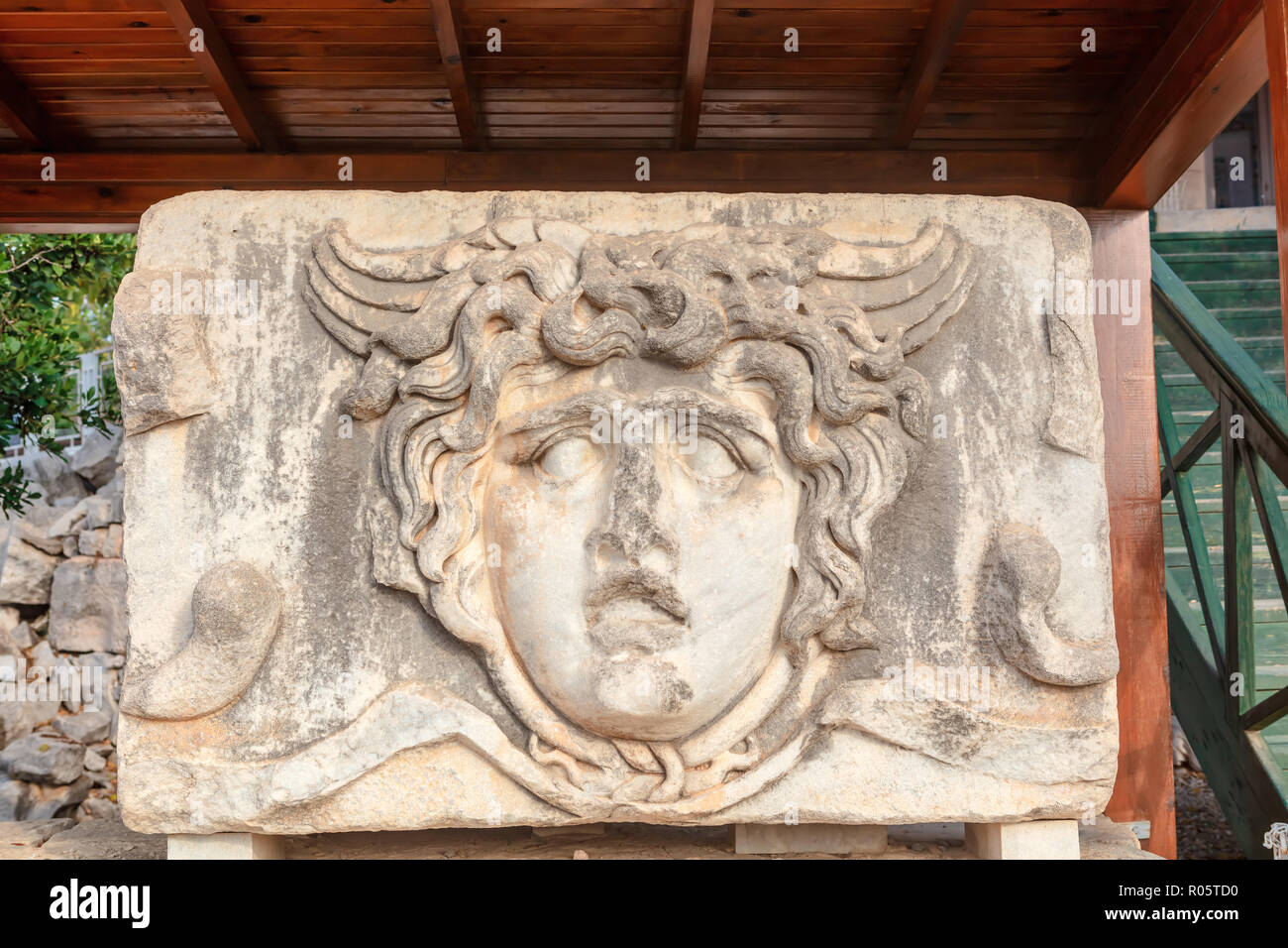 Head of Gorgon, fragment of freeze, 2nd century AD at the Apollo Temple in Didym, Tukey. - Stock Image