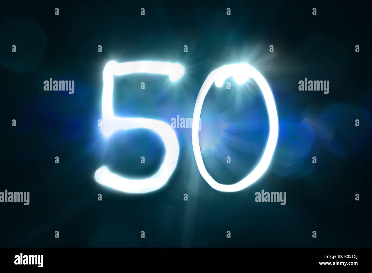 fifty light sparkle shine number anniversary year - Stock Image