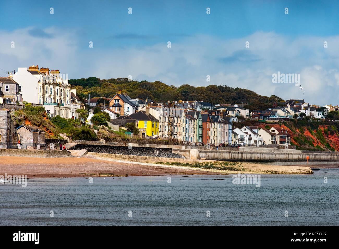 DAWLISH, DEVON, UK - 26OCT2018: Multi coloured Victorian Houses on the seafront at Dawlish. - Stock Image