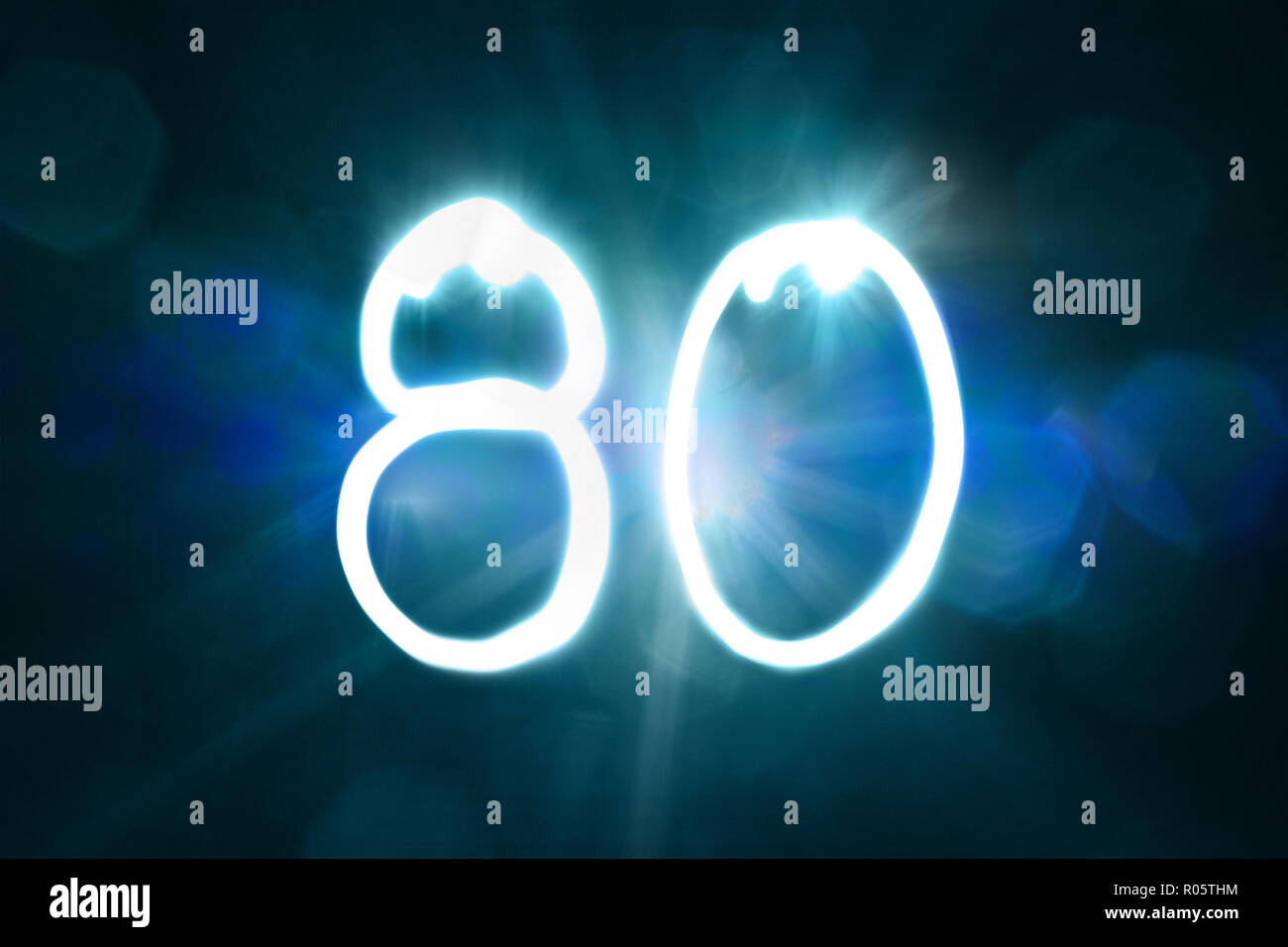 eighty light sparkle shine number anniversary year - Stock Image