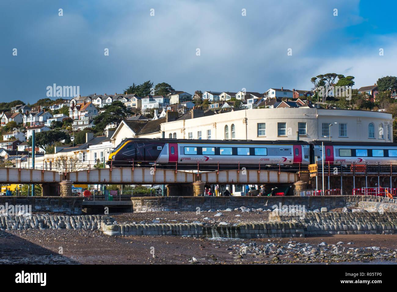 DAWLISH, DEVON, UK - 26OCT2018: Arriva Cross Country Class 221 High Speed Train 221139 passing through Dawlish. - Stock Image